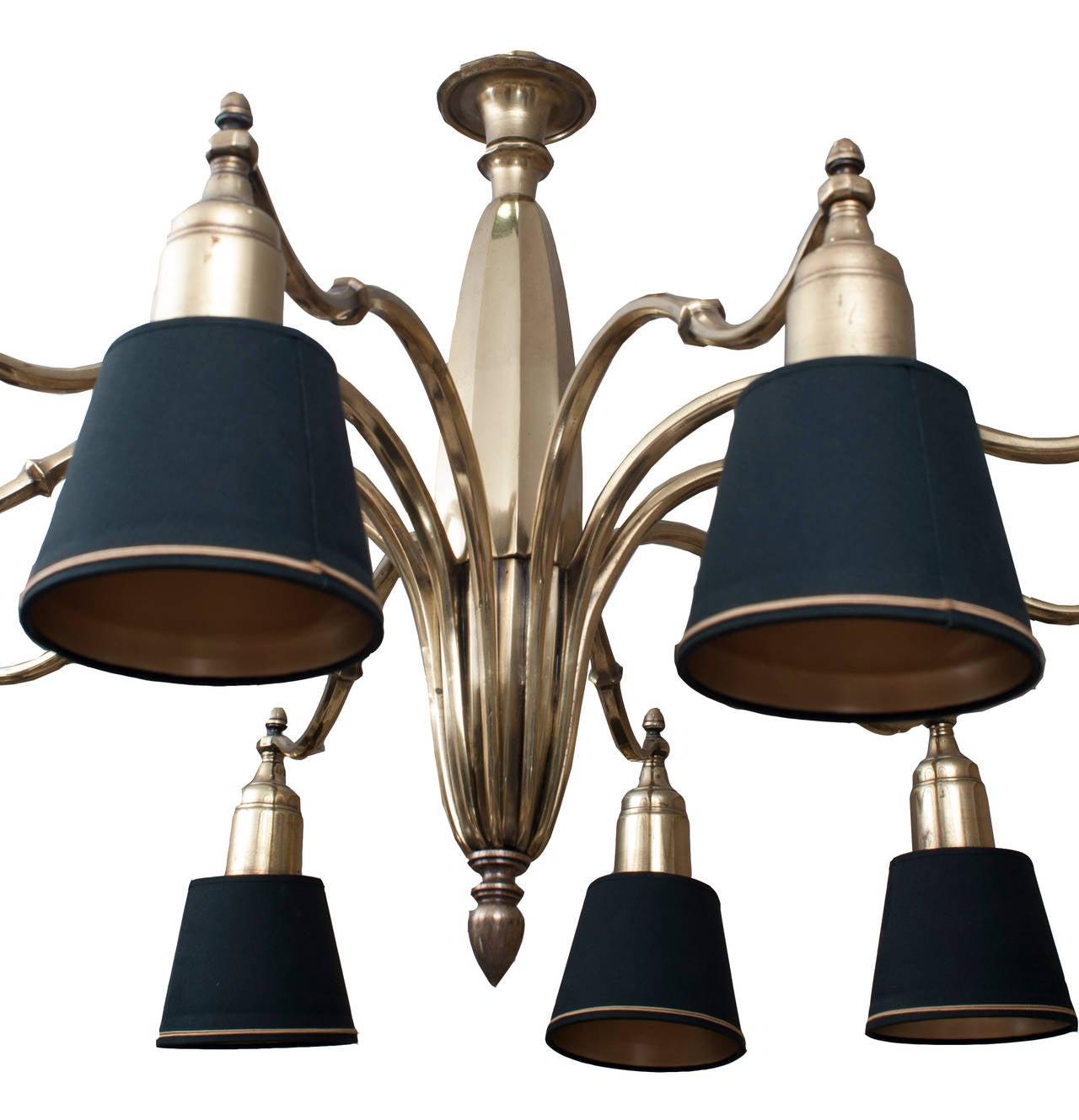 Admiral Bronze Chandelier with ten lights and original black shades 2