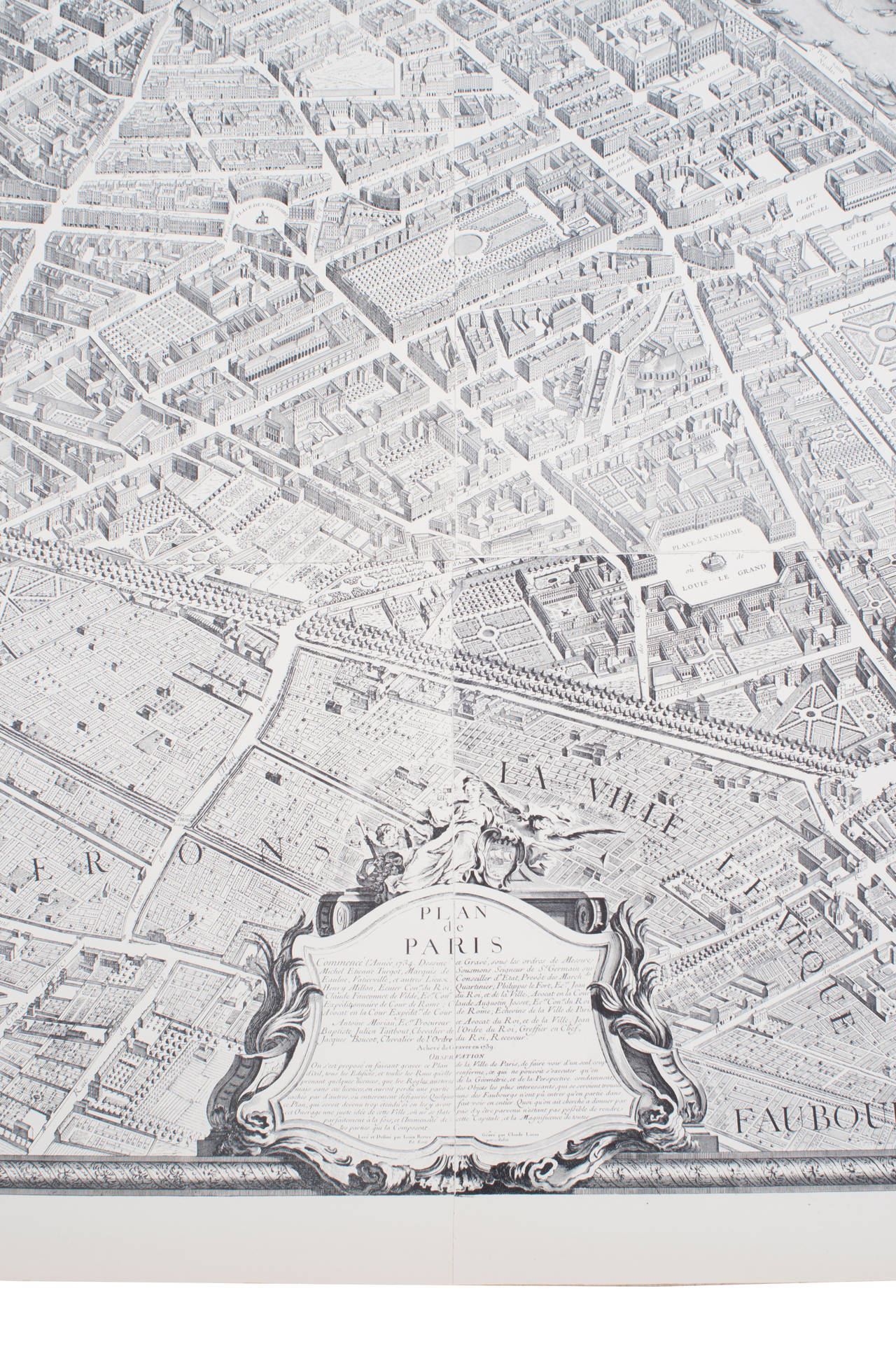 French Large Map of Paris, France For Sale