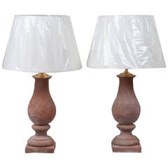 Pair of Red Terra Cotta Hand Molded Baluster Lamps