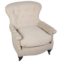 Single Large Napoleon III Chair with Buttons and Casters