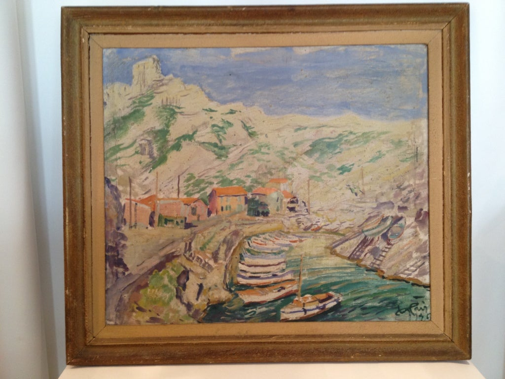 Post Impressionist Style Painting of the Calanque Sea Shore along the Mediteranian Coast near Marseille, France.  Signed Jean L'Air, listed in the French Artist Directory of Benezet.