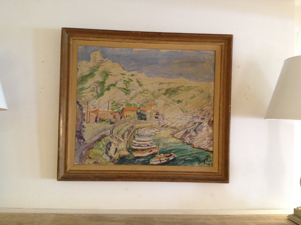 Wood Post Impressionist Style Painting of the Calanque Sea Shore For Sale