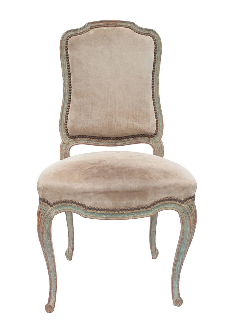 Set of Eight Painted Louis XV Style Dining Chairs at 1stdibs
