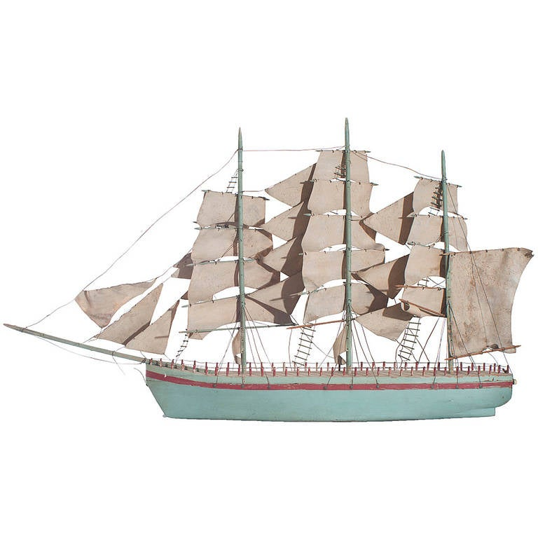 Blue Painted Model of a Sail Boat