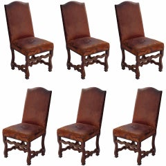 Set of six Louis XIII dining chairs in walnut with original leather