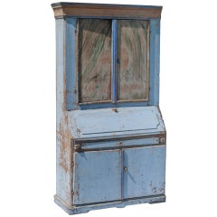 Blue Painted Swedish Secretaire