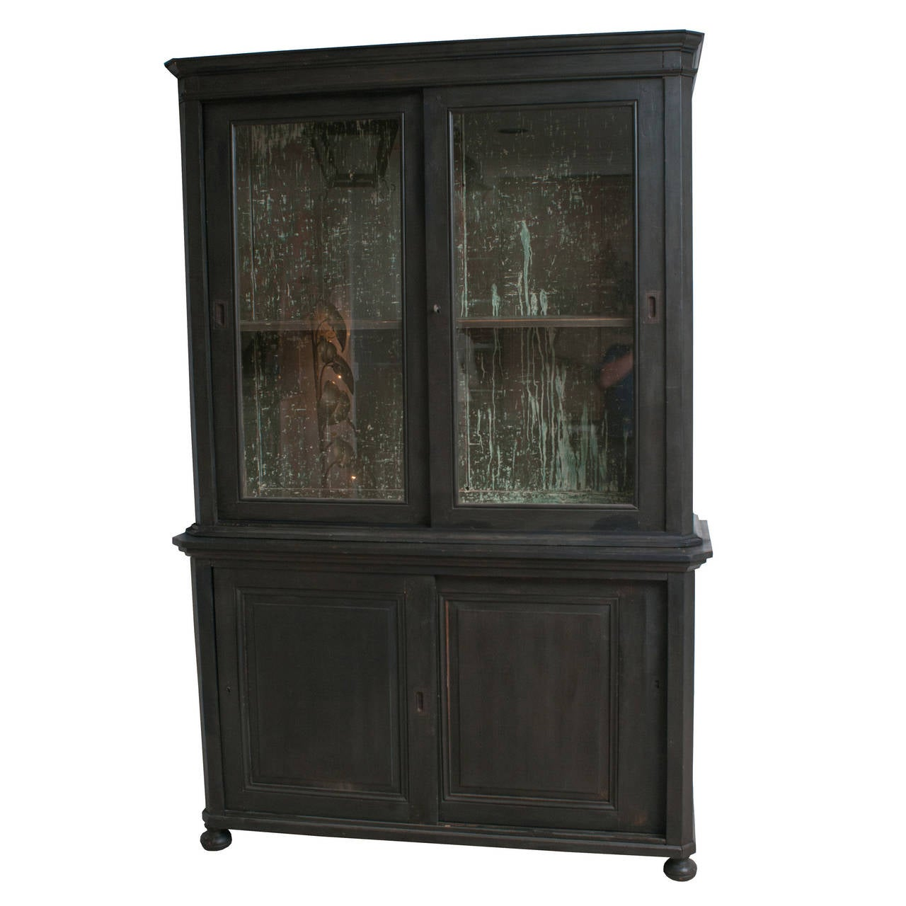 A Black Painted Napoleon III Glass Front Bookcase. 1 - A Black Painted Napoleon III Glass Front Bookcase. At 1stdibs