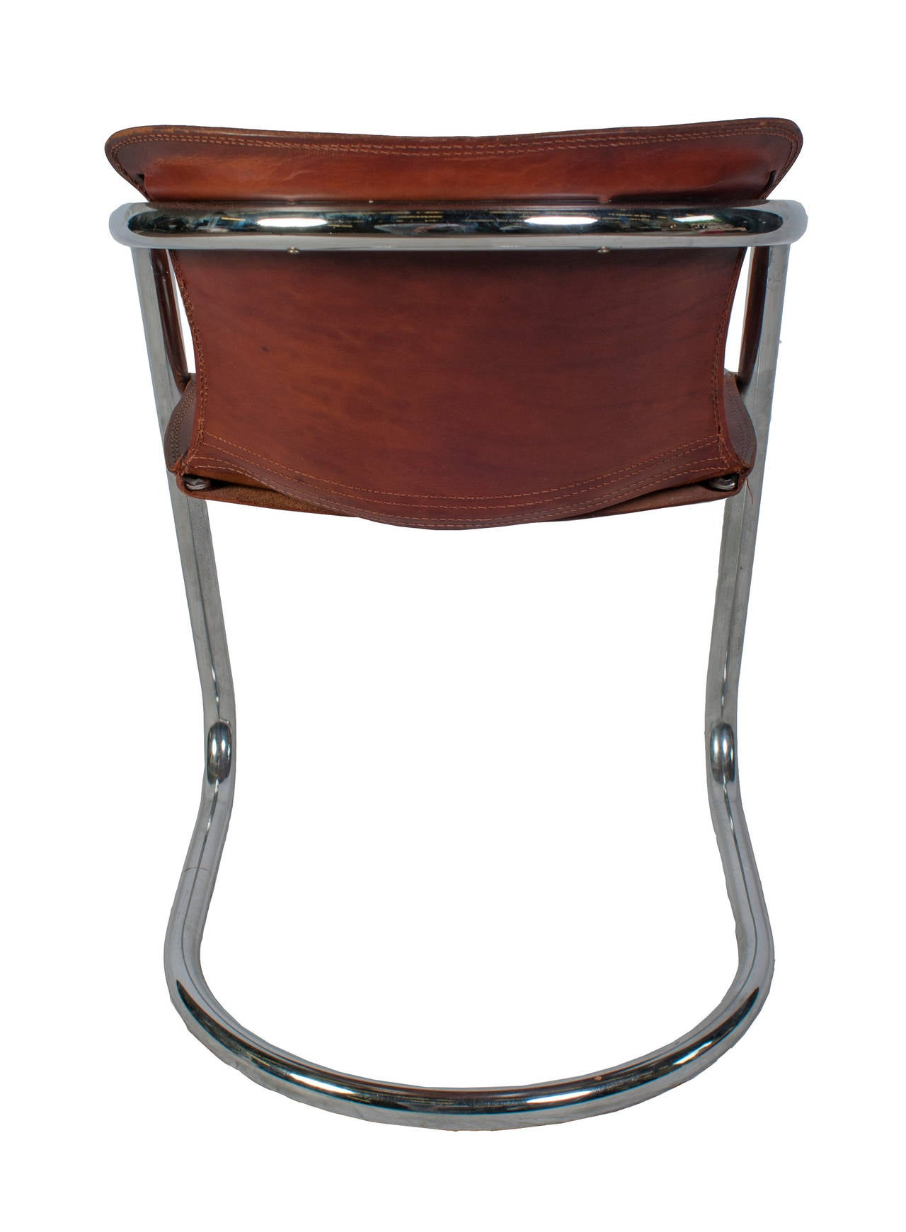 Of four chairs in oak and patinated cognac leather for sale at 1stdibs - Set Of Willy Rizzo Dining Chairs With Cognac Leather For