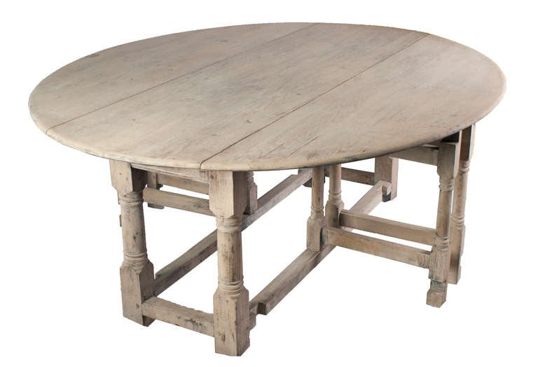large stripped oak gate leg table for sale at 1stdibs
