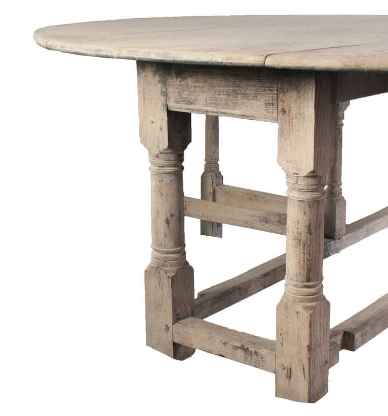 French A Large Stripped Oak Gate Leg Table For Sale