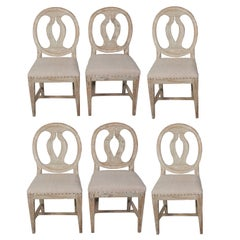 Set of Six Round Back, Painted, Swedish Dining Chairs