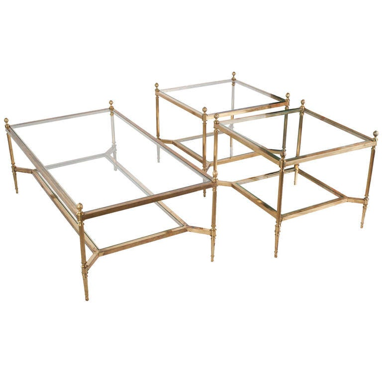Brass and glass coffee and side table set at 1stdibs for Side coffee table set