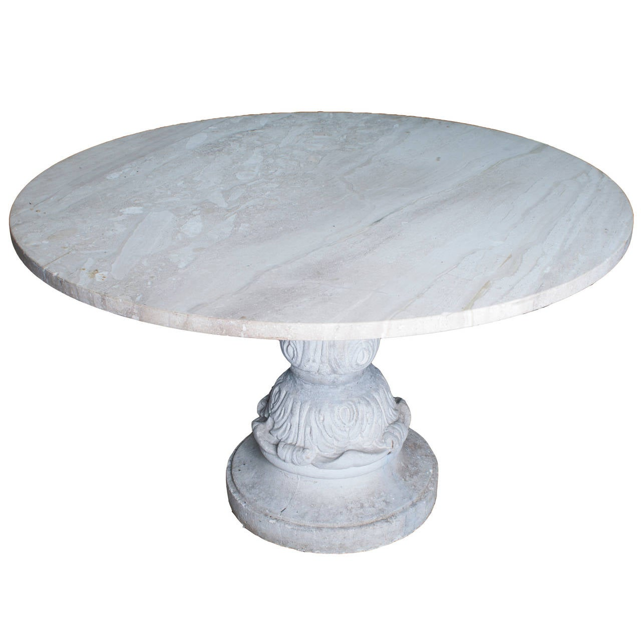 Midcentury Concrete Pedestal Table Base With New Granite
