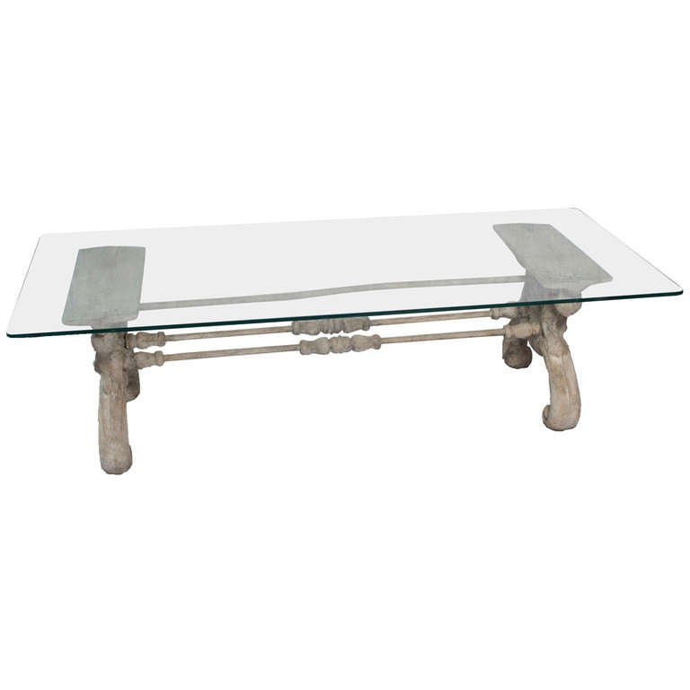 Painted heavy cast iron coffee table w glass top for sale for Heavy glass coffee tables