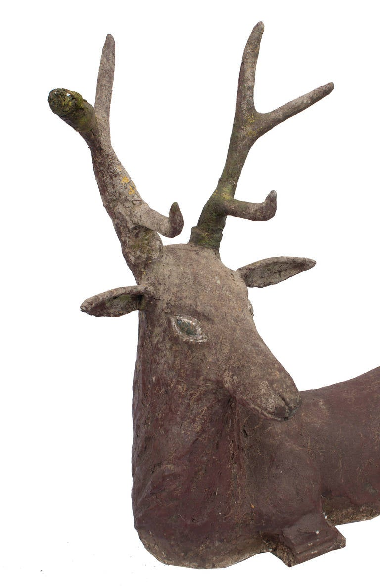 a cement deer cerf for sale at 1stdibs. Black Bedroom Furniture Sets. Home Design Ideas