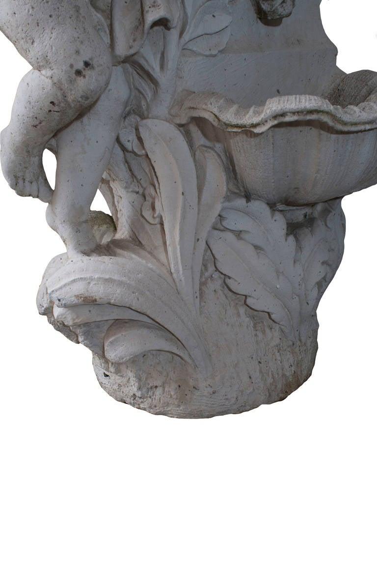 Composite Stone Cherub Fountain In Good Condition For Sale In Washington, DC