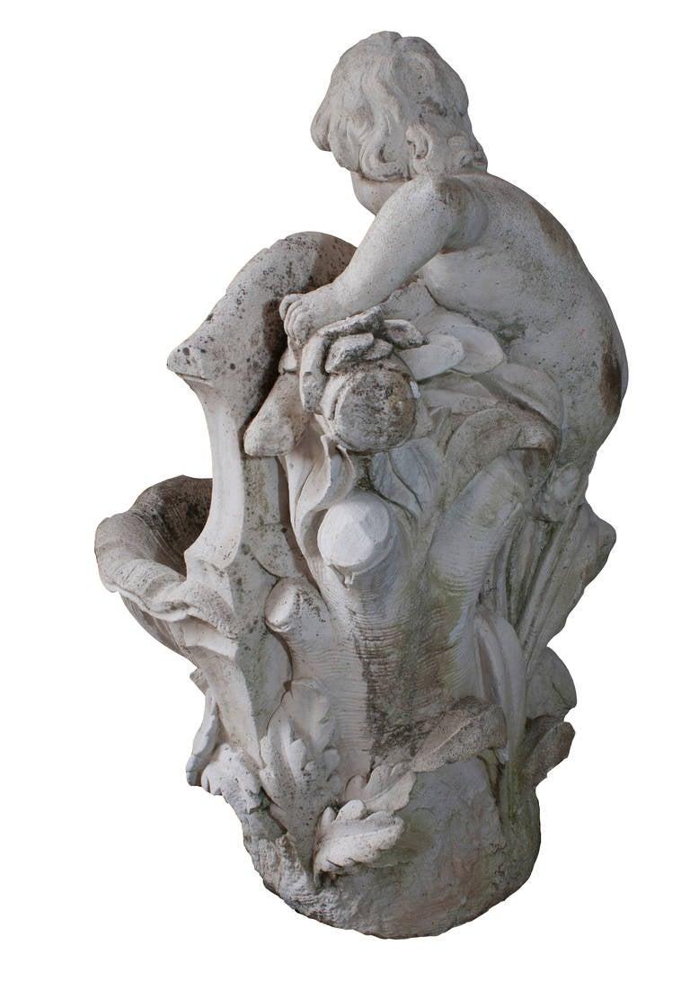 Composition Composite Stone Cherub Fountain For Sale