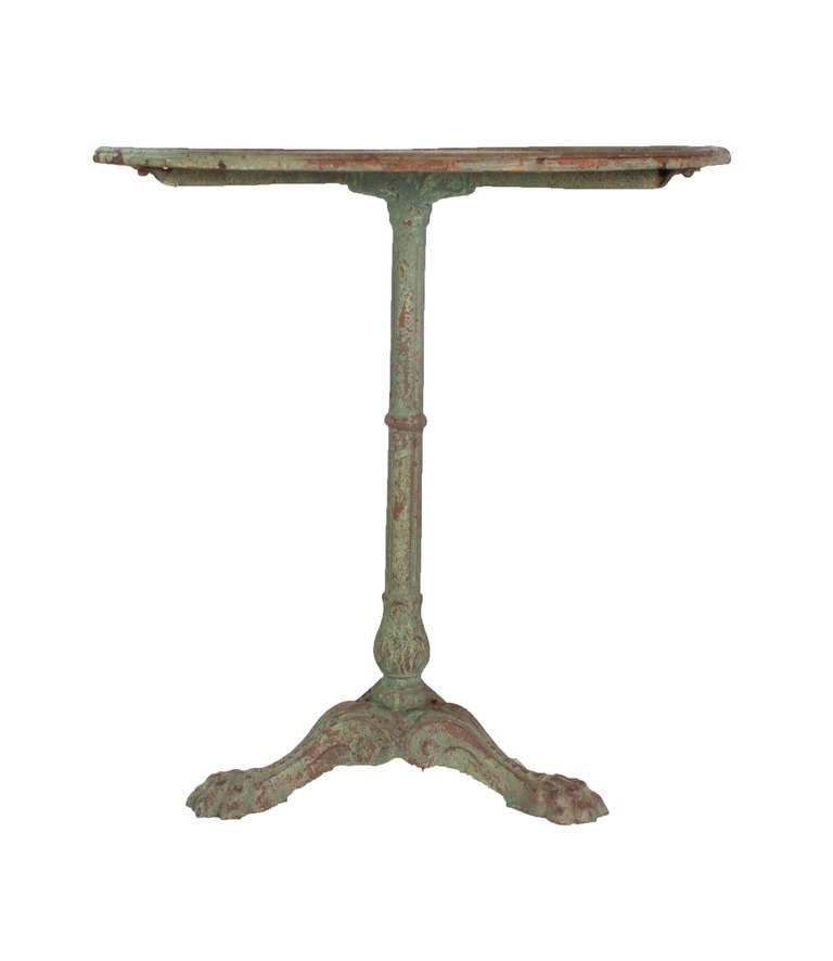 Light Green Painted Cast Iron Gueridon Table in its Original Paint