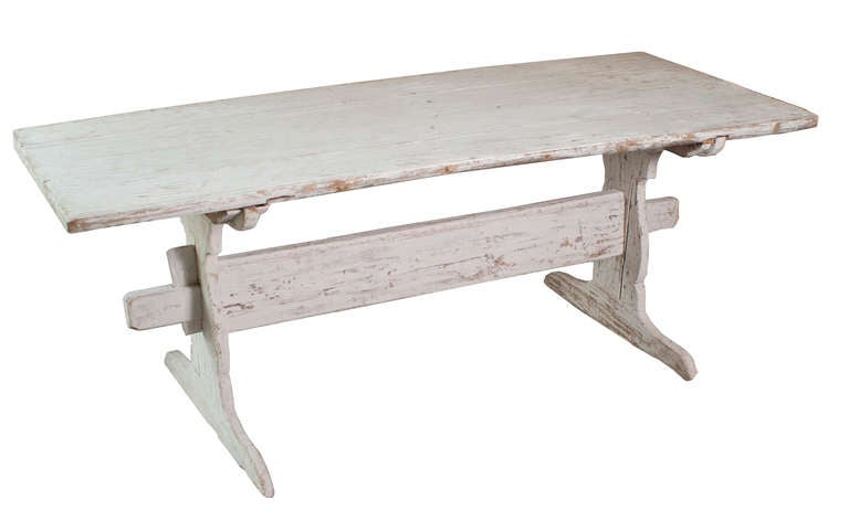 A White Painted Stretch Leg Swedish Table image 4
