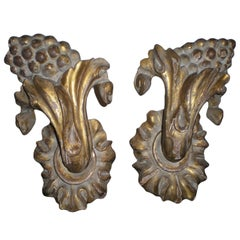 Pair of Gilt Architectural Fragments Mounted on Steel Plates