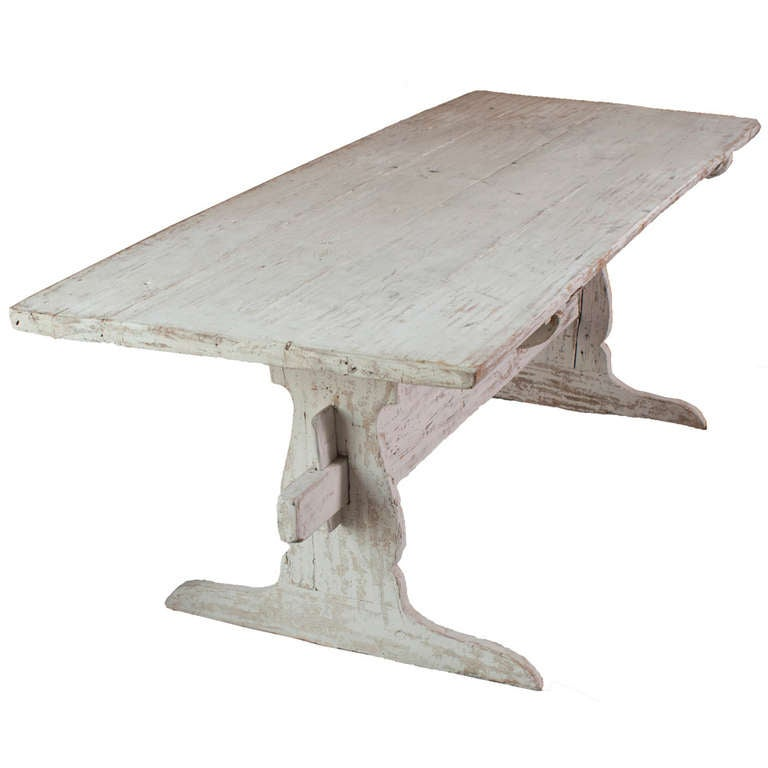 A White Painted Stretch Leg Swedish Table