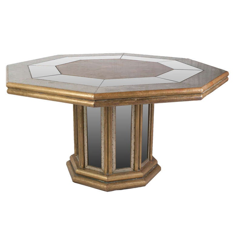 A hexagonal beaten brass dining table at 1stdibs for 3 sided dining room table