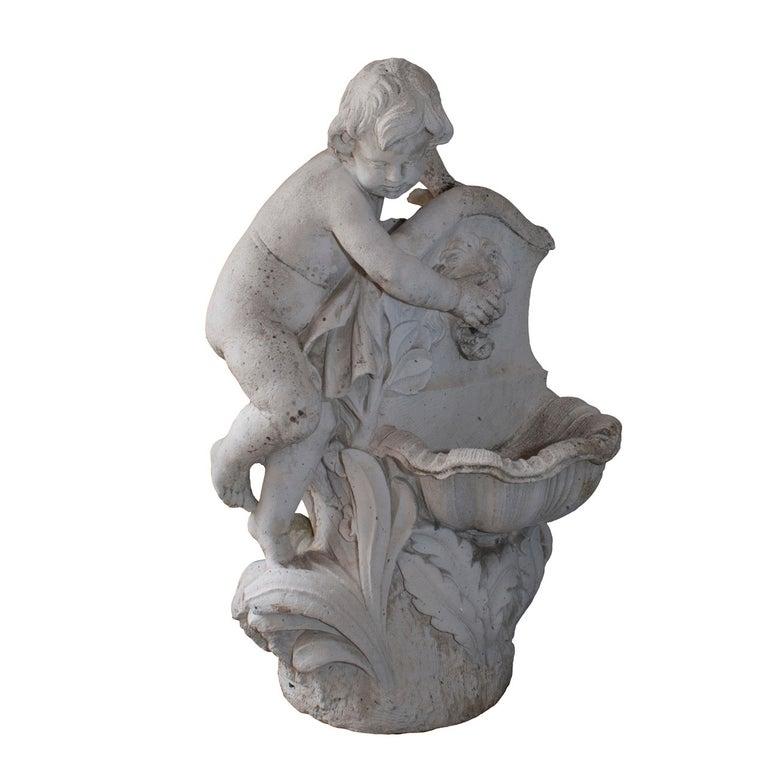 Composite Stone Cherub Fountain For Sale
