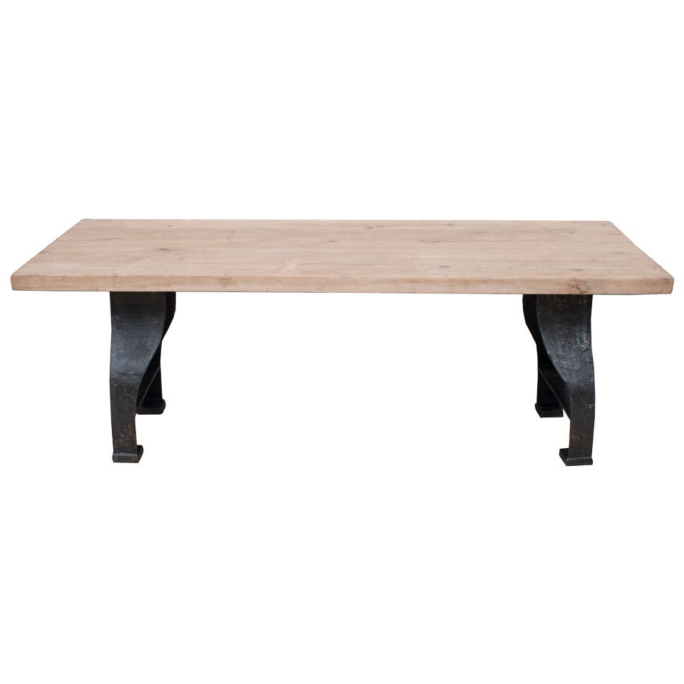 Industrial Cast Iron Table with a Bleached Oak Top