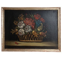 A Still Life Painting of a Basket of Flowers