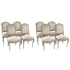 Set of Eight Painted Louis XV Style Dining Chairs
