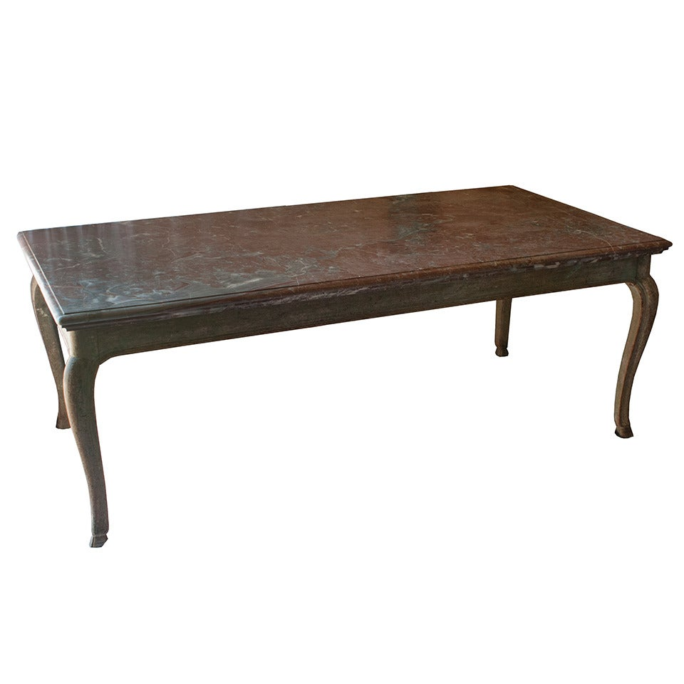 Louis xv style dining table with original marble and paint for sale at 1stdibs - Table louis xv ...