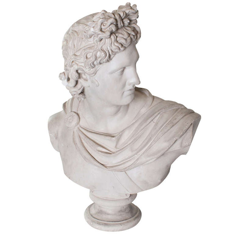 French Provincial Plaster Head of Apollo For Sale