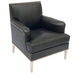 Black Leather Club Chair with Nailhead Trim with Carved Wood Legs