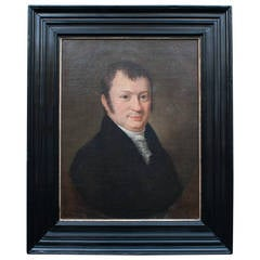 Oil on Canvas Portrait of a Dutch Gentleman in an Ebonized Frame, circa 1815
