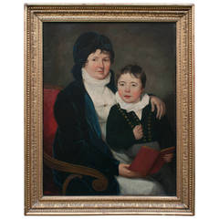 """Oil on Canvas """"Mother and Son"""" Probably Baltimore, circa 1805"""