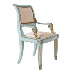 Italian Parcel-Gilt and Painted Armchairs, Set of Six, circa 1800