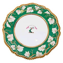Pair of Worcester Armorial Deep Dishes with Green Border and Gadrooned Edge