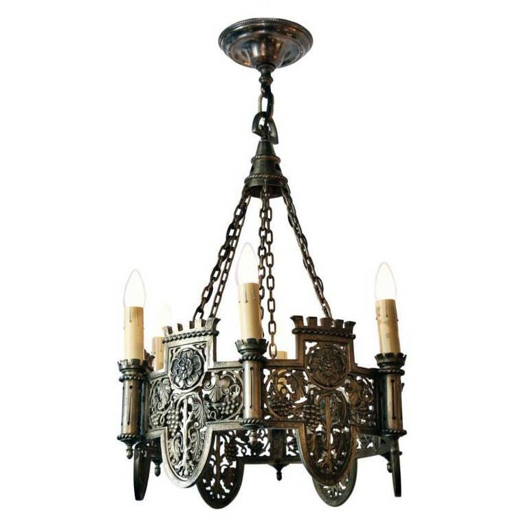 Six Light Bronze English Tudor Style