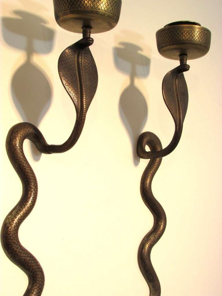 Brass Cobra Sconces at 1stdibs
