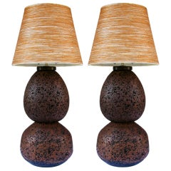 Pair Cork Ball Lamps