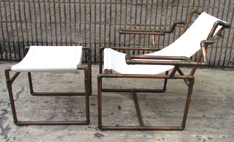 Charming American Copper Pipe Chair And Ottoman For Sale