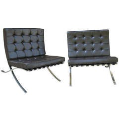 Pair Barcelona Chairs by Mies van der Rohe
