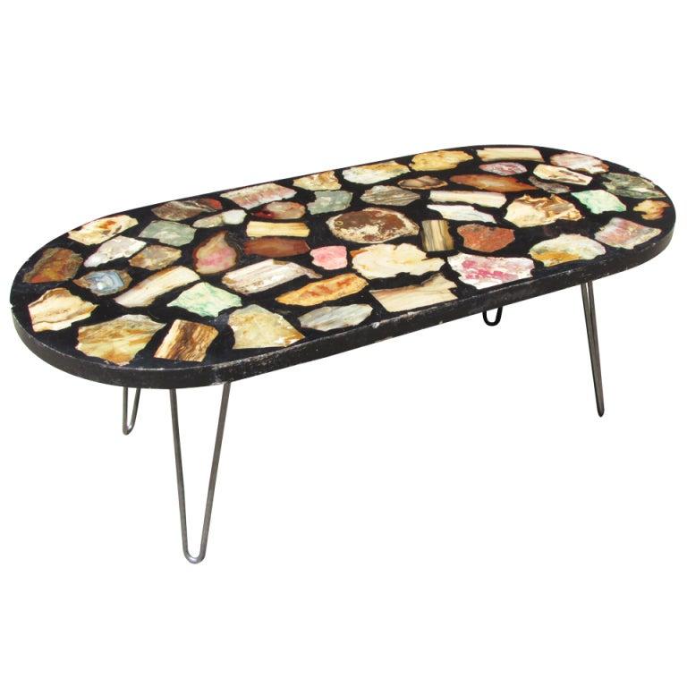 XXX spectabblk001 Petrified Wood Coffee Table Oval Coffee Table With Petrified Wood Top At Stdibs