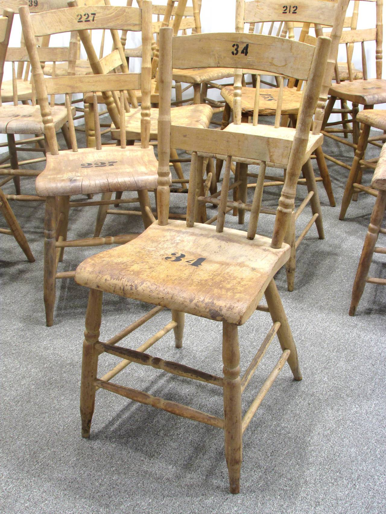 Wood Grange Hall Chair 24 Available For Sale