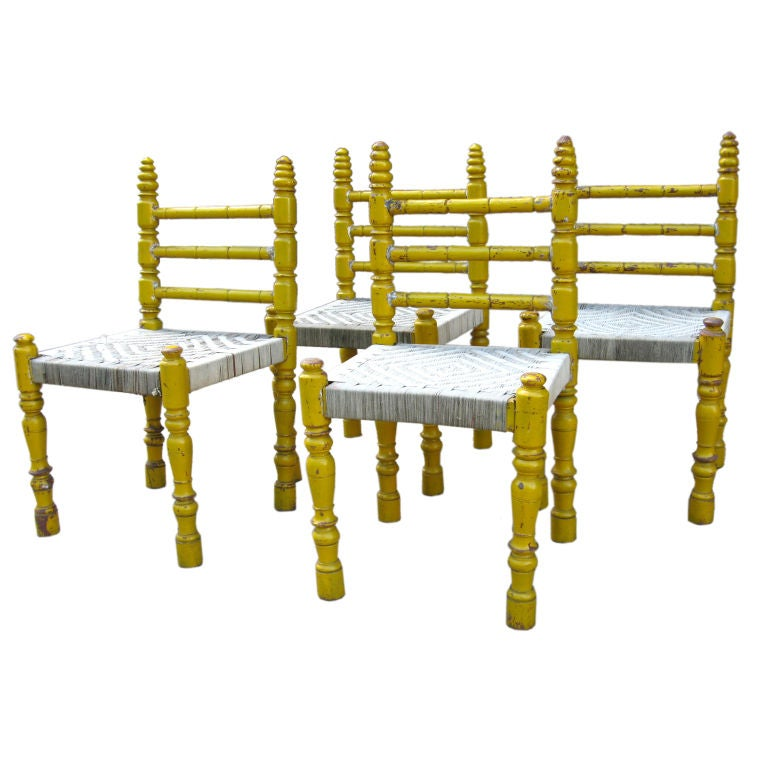 Set of Indian wooden chairs, 1940s