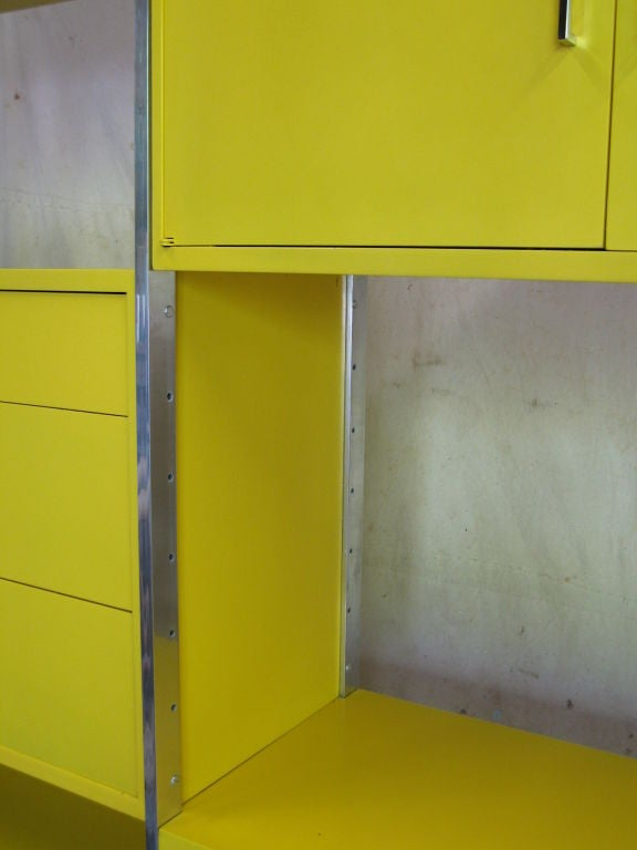 Yellow And Chrome Modular Wall Unit At 1stdibs