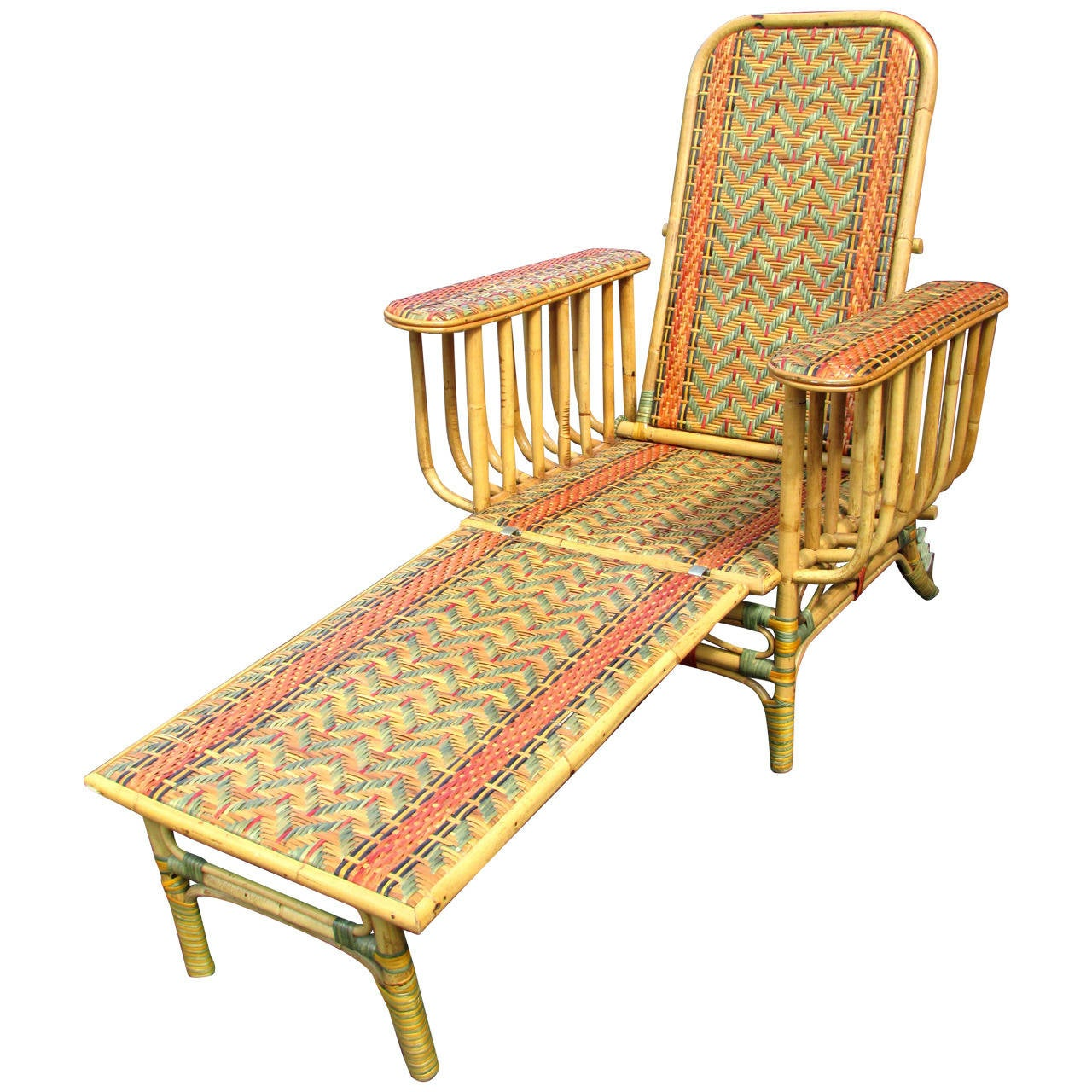 Art deco style wicker deck lounge chair at 1stdibs for Art deco style lounge