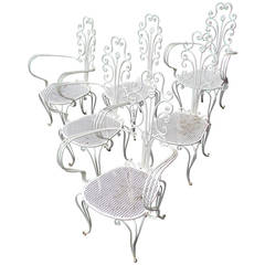 Set of Fancy Scroll Wrought Iron Chairs