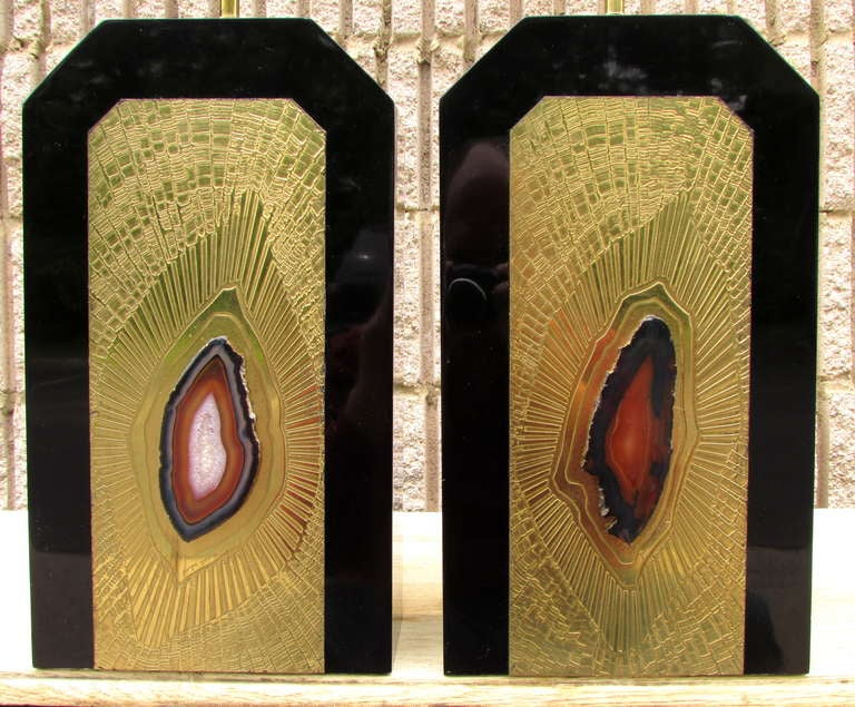 Pair of George Mathias Agate Lamps In Excellent Condition For Sale In High Point, NC