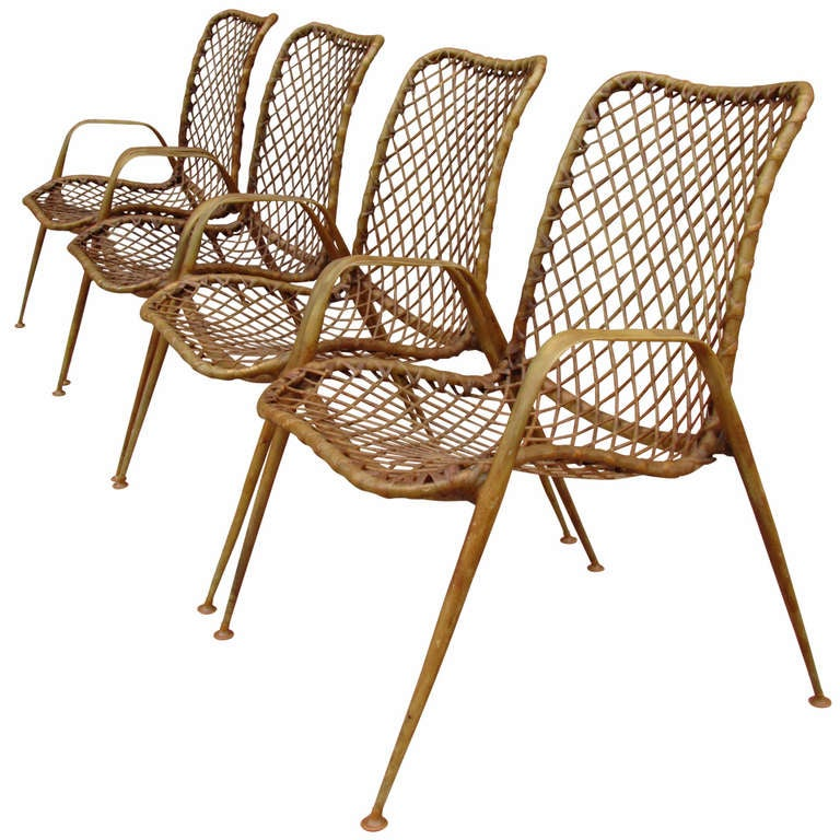 Set of Four Resin String Chairs For Sale